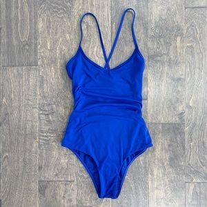 Billabong Swim - Billabong Blue Criss Cross Back One Piece Swimsuit